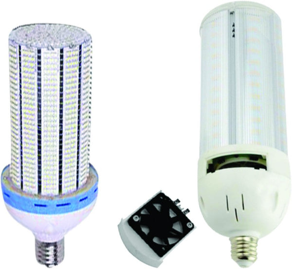 100-250VAC 100W WARM WHITE LED CORN LAMP E40, FIXED FAN