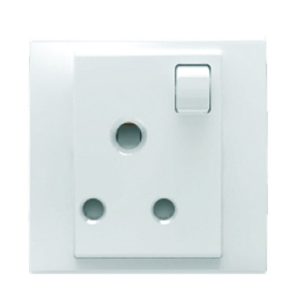 3-PIN SA SWITCHED SOCKET 15A WHITE FOR 3X3 BOX