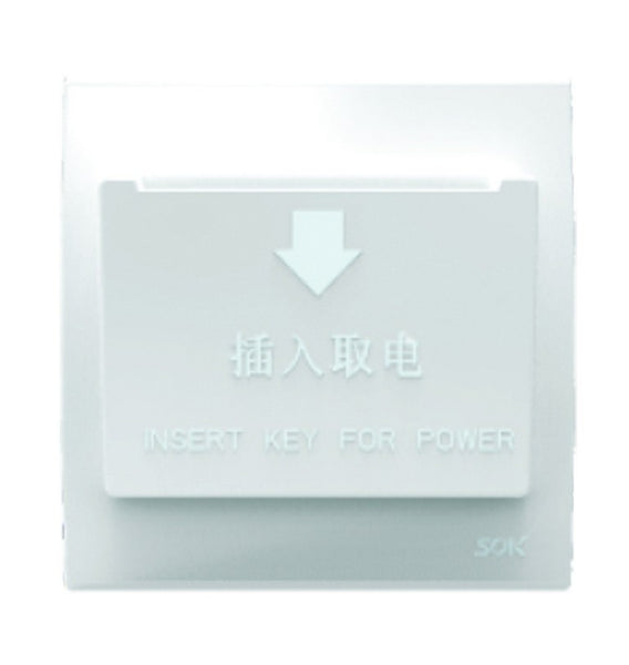 HOTEL KEY SWITCH 30A WHITE FOR 3X3 BOX