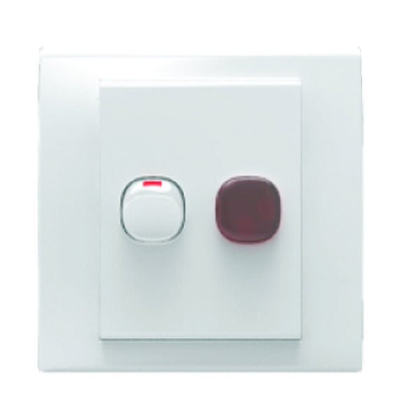 DOUBLE POLE ISOLATOR C/W NEON 20A WHITE FOR 3X3 BOX