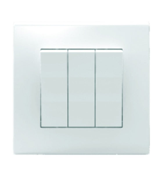 3 LEVER 1 WAY SWITCH 10A WHITE FOR 3X3 BOX