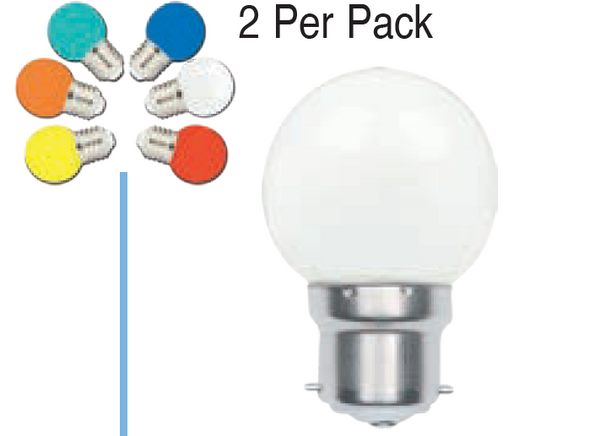 230VAC 1W B22 LAMP BALL TYPE MIXED COLOUR 5 PACK