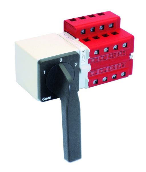 63A 4-POLE CHANGEOVER SWITCH C/W BLACK OPERATING HANDLE