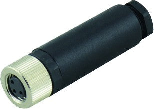 M8 4-POLE FEMALE PLUG R/ANGLED NON SHIELDED PUR 5m
