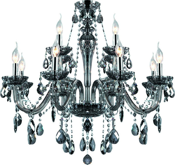 12 x 40W BLACK CHANDELIER (METAL/GLASS/CRYSTAL),E14