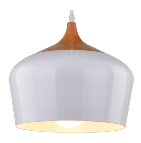 230VAC 60W 1XE27 PENDANT WHITE/WOOD 300MM DIA.