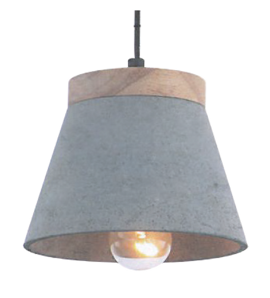 230VAC 60W 1XE27 PENDANT CONCRETE AND WOOD 160DIA.