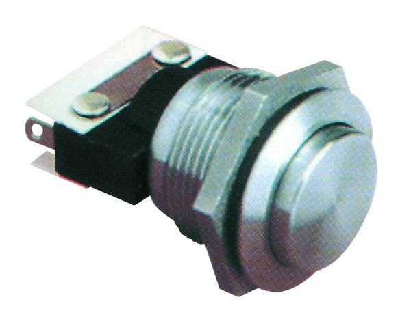 S/STEEL PUSHBUTTON 5A@ 250V 22MMDIA