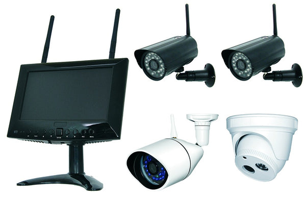 4 CAMERA WIRELESS CAMERA KIT C/W MWM719 MONITOR/DVR