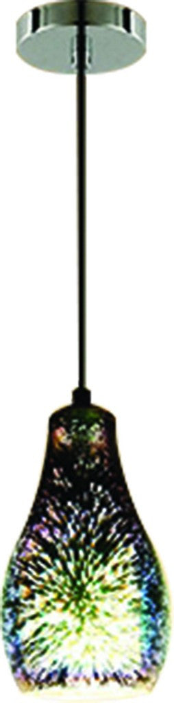 230VAC 40W 1XE27 PENDANT 3D GLASS/CHROME 130MM DIA.