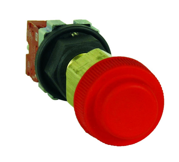 PUSH BUTTON FLP M25 STOP C/W NC 10A CONTACT W/P RED