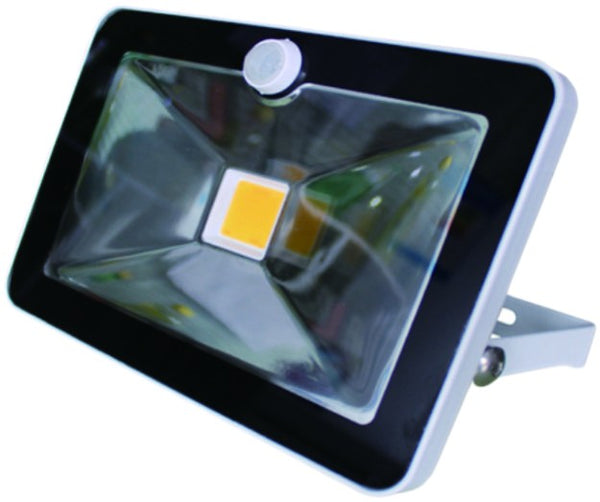 230VAC 50W COOL WHITE LED  ALUM. FLOOD LIGHT IP65 C/W PIR