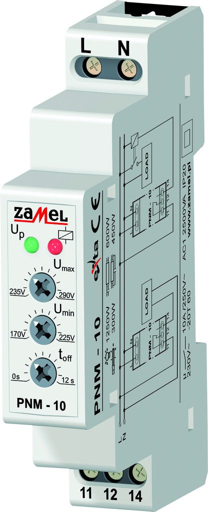 1 PH OVER/UNDER VOLTAGE RELAY 10A 1C/O 230VAC