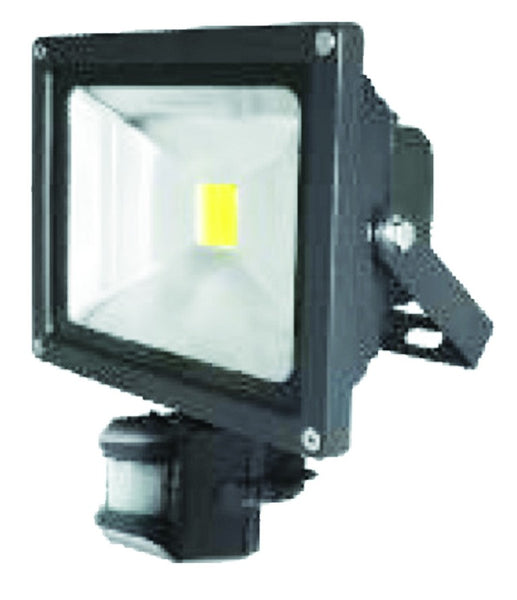 85/265VAC 30W WARM WHITE LED ALUM. FLOOD LIGHT IP65 C/W PIR