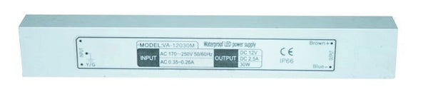 230VAC:12VDC 2.5A(30W) LED REGULATED POWER SUPPLY IP67