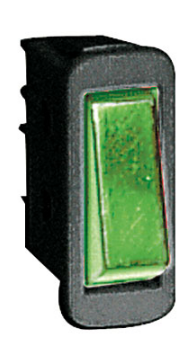 ROCKER SWITCH 16A SPST GREEN 230V LAMP