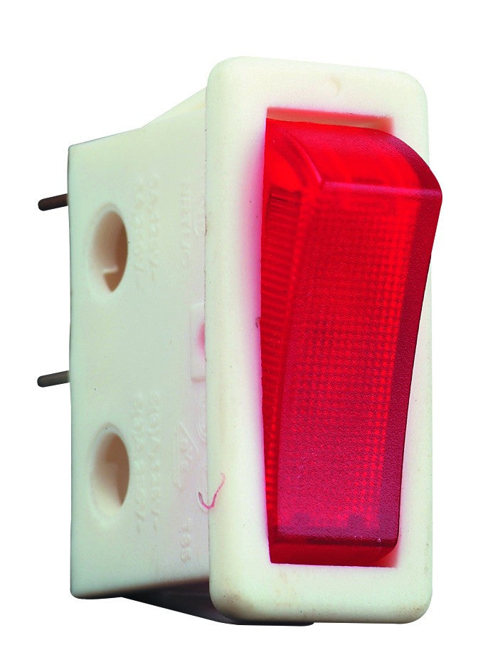 ROCKER SWITCH WHITE SPST RED NO LAMP