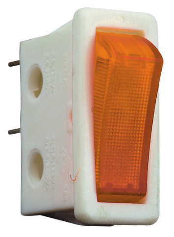 ROCKER SWITCH WHITE SPST AMBER NO LAMP