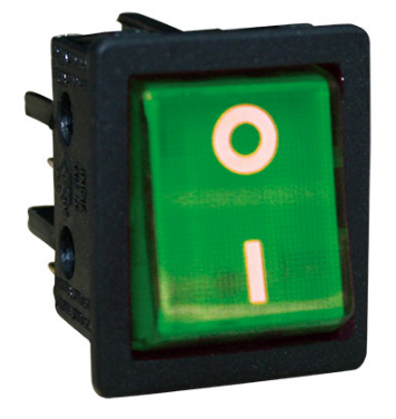 ROCKER SWITCH DPST GREEN NO LAMP