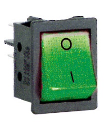 ROCKER SWITCH DPST GREEN 230V LAMP