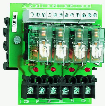 4-WAY PLUG-IN RELAY BOARD 24VDC OPEN BASE. POSITIVE