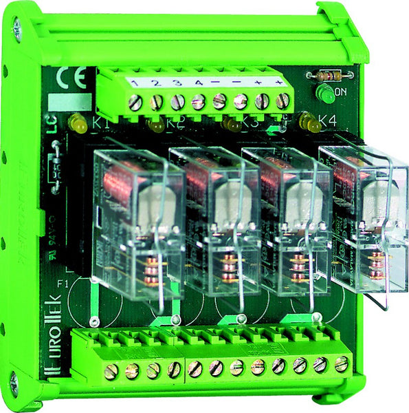 4-WAY 2C/O PLUG-IN RELAY BOARD 24VDC OPEN BASE. POSITIVE
