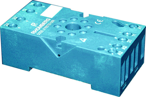 8 PIN RELAY BASE RECTANGLE TYPE BLUE, 300V/10A, IP20