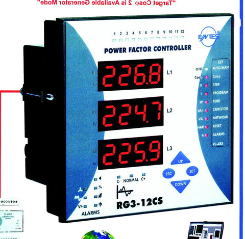 12 STEP PFC CONTROLLER C/W RS-485 & ALARM 144x144
