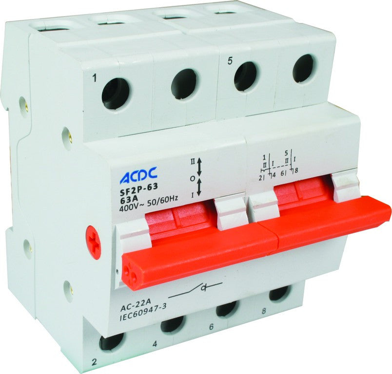 2P 63A DIN CHANGEOVER SWITCH