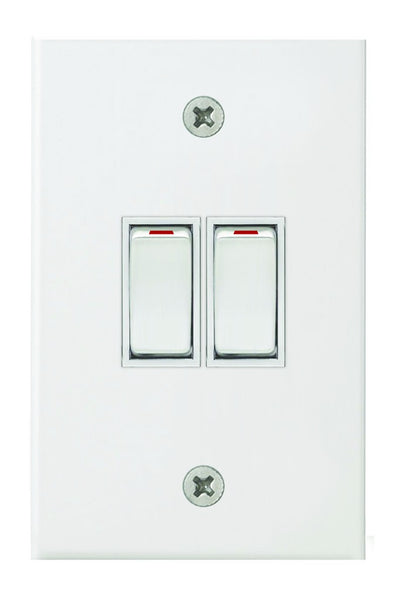 2-LEVER 2-WAY SWITCH 2x4 C/W WHITE STEEL COVER PLATE