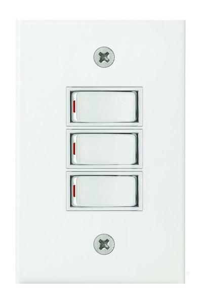 3-LEVER 1-WAY SWITCH 2x4 C/W WHITE STEEL COVER PLATE