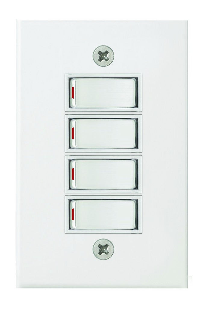 4 LEVER 1 WAY SWITCH 2x4 C W WHITE STEEL COVER PLATE