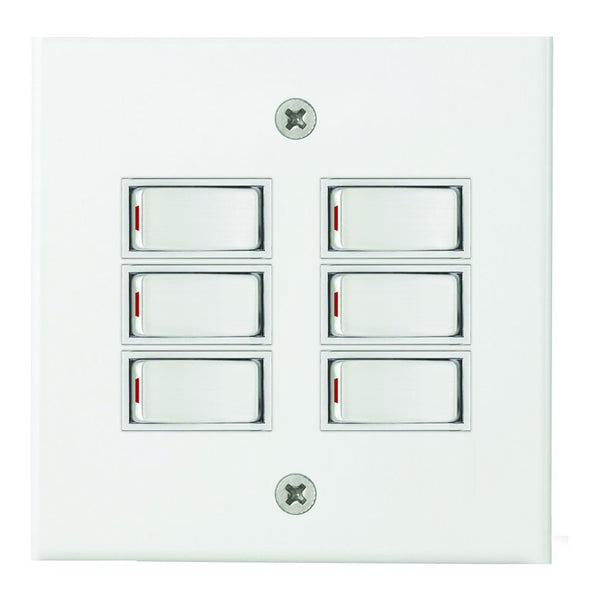 6-LEVER 1-WAY SWITCH 4x4 C/W WHITE STEEL COVER PLATE