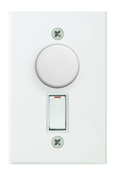 500W ROTARY DIMMER ON/OFF WITH SWITCH WHITE STEEL COVER PLAT