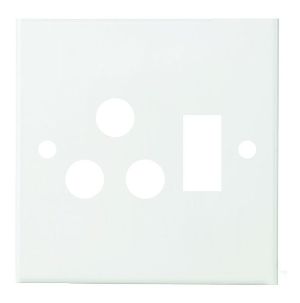 WHITE STEEL COVER PLATE FOR 4x4 SWITCH SOCKET