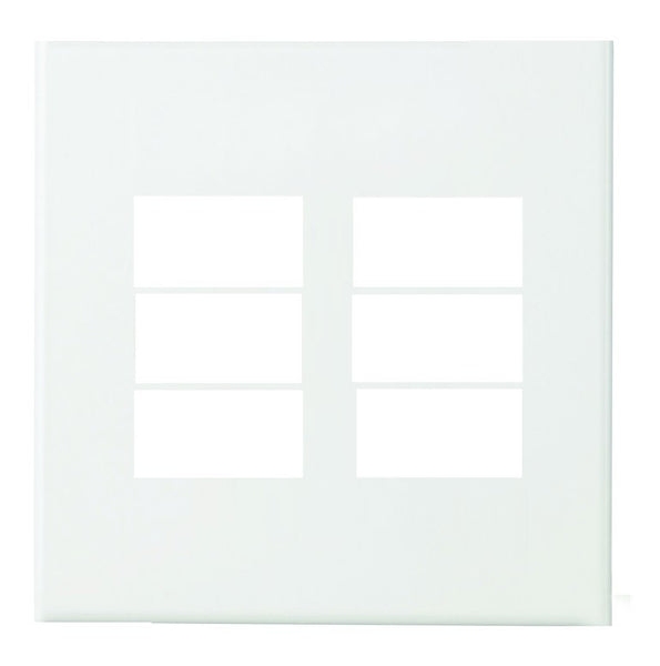6 WAY WHITE BLANK MODULE 4X4 STEEL PLATE