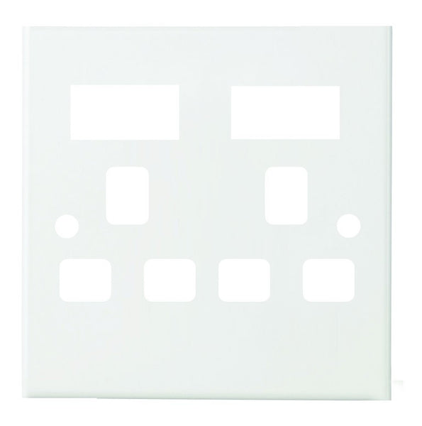 WHITE STEEL COVER PLATE FOR 4x4 BRITISH SOCKET