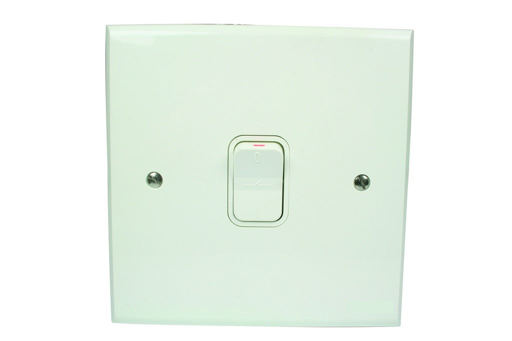 60A 2P STOVE ISOLATOR 4x4 C/W WHITE STEEL COVER PLATE