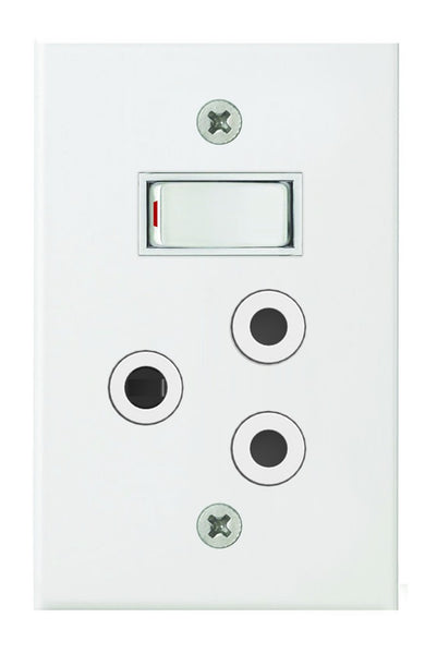 16A SWITCHED SOCKET  2x4 C/W WHITE STEEL COVER PLATE