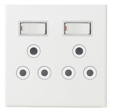 2x16A SWITCHED SOC OUTLET 4x4 C/W WHITE STEEL COVER PLATE