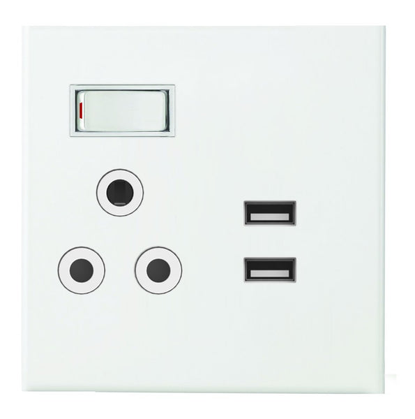 16A SWITCHED SOCKET 4X4 + USB C/W WHITE STEEL COVER PLATE