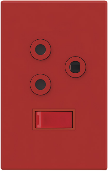 1X16A DEDICATED RED SWITCHED SOCKET OUTLET 2x4 STEEL PLATE