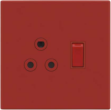 1X16A DEDICATED RED SWITCHED SOC OUTLET 4x4 STEEL PLATE