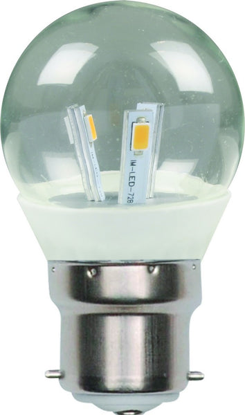 3W LED GOLF BALL LAMP CLEAR,85-260VAC,B22,DIMMAB,WARM WHITE