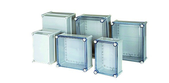 ENCLOSURE 280x280x130 CLEAR SCREW LID IP66