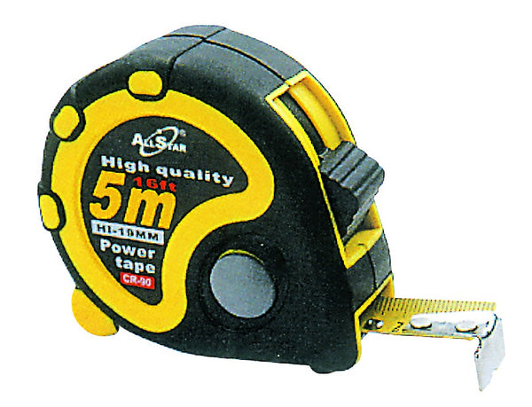 5MX19MM CONTRACTOR RUBBER TAPE MEASURE. DOUBLE STOP