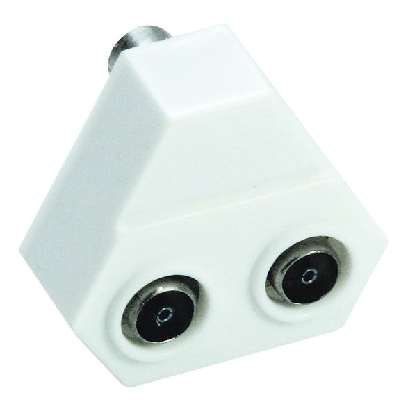 TV IN-LINE SPLITTER MALE TO 2xFEMALE 9.5mmD PLASTIC