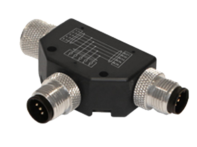M12 SPLITTER WITH 2 M12 PLUGS. MALE TO FEMALE STRAIGHT(PNP)