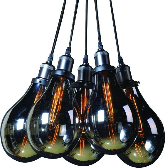 230V 5X60W E27 PENDANT LIGHT GREY GLASS / MATT BLACK