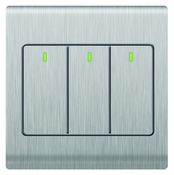 3 LEVER 1 WAY SWITCH 10A S/STEEL FOR 3X3 BOX